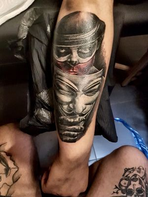 #clown #marionette #anonymous #blackandgray #realistic #tattoooftheday #mime #mask