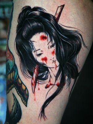 Nambuki on my inside thigh... Done yesterday ⚔️🇯🇵⚔️ Follow me on Instagram 1tombrennan #namakubitattoo #Namakubi #japanesetattoo #japanese #blood #girl #blackandgrey #blackwork #blackworktattoo#news #samurai #newschooltattoo #newschool