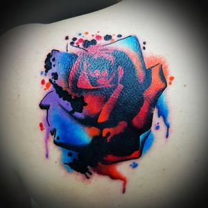 Cover up by Dee today thanks all #CoverUpTattoos #coverup #watercolour #watercolortattoo #rose #shouldertattoo