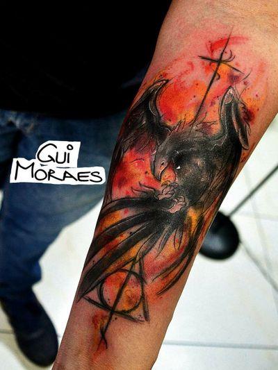 Harry Potter #phoenix #phoenixtattoo #harrypotter #harrypottertattoo #fullcolor #watercolor #sketchstyle #fire #flames #brasil #