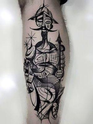 Cubismo. Dom Quixote ---------------------------------------------- #thiagodemello #cubism #cubismart #contemporaryart #linework #tattrx #abstract #abstractart #figurative #painting #art #cubismo #artesplásticas #artist #expressionismo #expressionism #tattoodo #tattoo #tattoaria_oficial #stabmegod #stttab #tattoopoa #blackworktattoo #blackwork #cubismtattooartist #cubismtattoo #cubism #cubismo