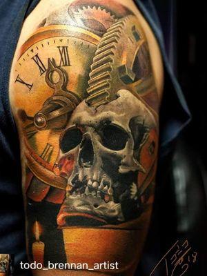 Steampunk Skull and clock #inkdlife #artbytodo #todo_brennan_artist #realismtattoo #tattoorealistic #skulltattoo #steampunktattoo
