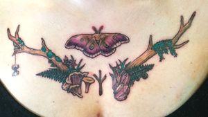 Wild witch chest piece #antlertattoo #mothtattoo #moth #amethyst #mushroomtattoo #wiccantattoo #naturetattoo #chestpiece #chesttattoo #ladytattooers