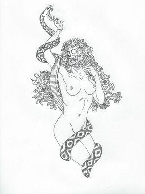 Eden #blackandwhitetattoo #snake #skull #flower