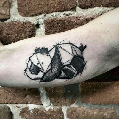 Credit to instagram : @inkgrams #panda #pandabear #pandatattoo #blackandgrey #blackandgreytattoo #sketchstyle #sketchtattoo #sketch #beartattoo #bear #arm #art