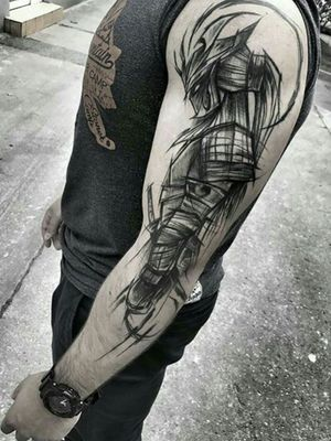 Credit to instagram : @inkgrams #sketch #sketchtattoo #sketchstyle #blackandgrey #blackandgreytattoo #art #arm #knight #war