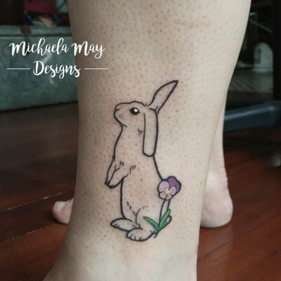 I had the honor of tattooing this lovely #bunny #memorialtattoo for the fantastic Emma. Thank you very much for letting me design this piece, I'm glad I did Alfie justice! I'm very keen to do more colour tattoos, and start incorporating colour into my designs :)
