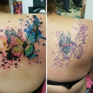 #CoverUpTattoos #coverup #watercolortattoos #watercolor #watercolortattoo #butterflytattoo #butterfly #eternalinks