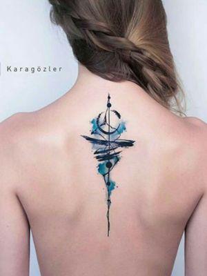Credit to instagram : @inkgrams #blue #spine #Black #colortattoo #color #art