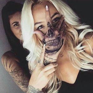 Her hand 😍 Credit to instagram : @janaelsikova @krejci_e #handtattoo #skull #skullhand #blackandgrey #blackandgreytattoo #realistic #