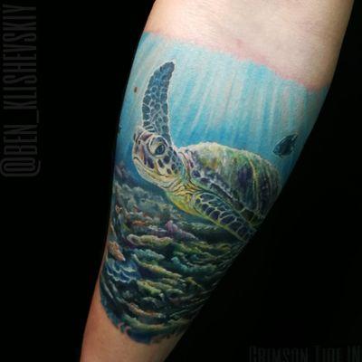 Work by guest artist Ben Klishevskiy #turtle #turtletattoo #colorrealism