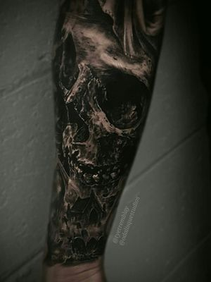 """""""Can you promise this to the grave?"""" #skull #cemetary #darkart #forearm #blackandgrey #realism"""