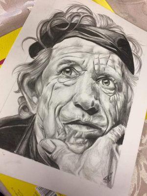 Kieth Richards graphite portrait on bristol paper.