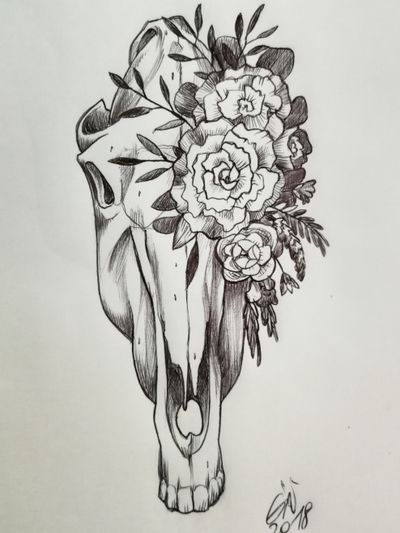 Sketching idea of a floreal horse skull #available #floreal #skulltattoo #skull #horse #black #blackworktattoo #flowers #flowertattoo