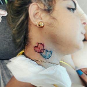Coração aquarelado da Carolina, Feito no Flashday no estúdio Candle Tattoo