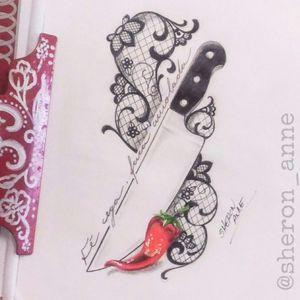 Fé cega, faca amolada 🌶🔪 #lacetattoo #lacetattoodrawing #lacetattoosketch #faca #facatattoo #tatuagemdecozinheiro #kitchentattoo #chilitattoo #tattoodraw #tattoodrawing #sheronannetattoo #sheronanne #curitiba #florianopolis #brasil