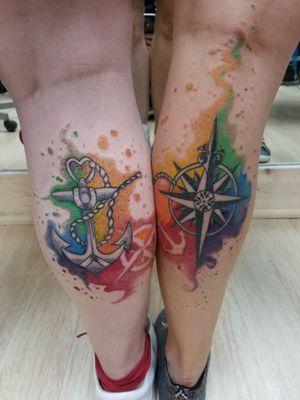 #tattoo #tattoos #tattooideas #couplestattoos #couples #anchortattoo #compasstattoo #watercolor #apprentice