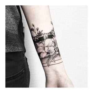 By #VladaShevchenko #orchids #flower #armband #bandtattoo