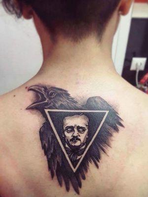 Raven - Edgar Allan Poe Tattoo by Tiff Lee Done at Destiny Tattoo, Athens, GR #neotraditionaltattoo #DarkTattoos #blackworktattoo #firsttattoo #girlswithtattoos #EdgarAllanPoe #raventattoo #triangle