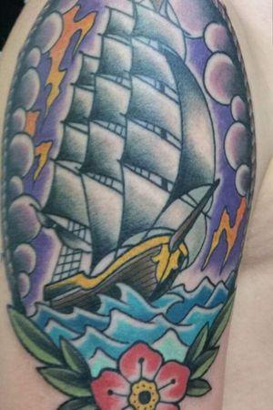 #oldschooltattoo #colourtattoo #boatattoo #seatattoo #TallShip #sailingship