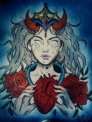 P13 Tattoo Official #bad #good #girl #heart #blue #grey #p13art #green #red #orange