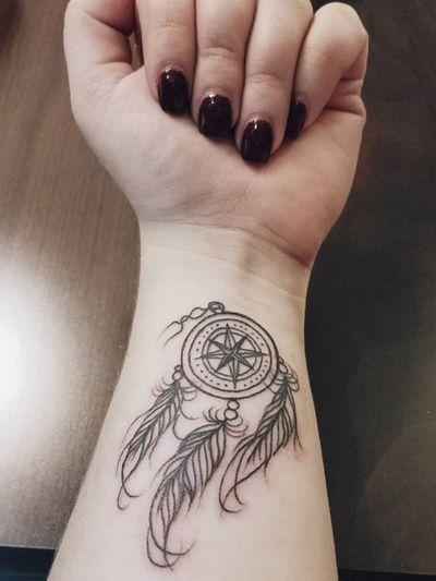 2018 #dreamcatcher #dreamtattoo #compass #compasstattoo #compassrose #dreamcatchertattoo #loveit #denton #wrist #wristtatoo #dreams