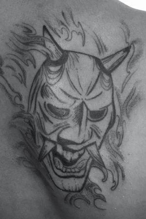 #tattoooftheday #tattoo #tattooist #tattooing #ink #inked #inkedboy #mask #onitattoo #onidemon #devil #japanesetattoo #blackink #arttattoo ##artist