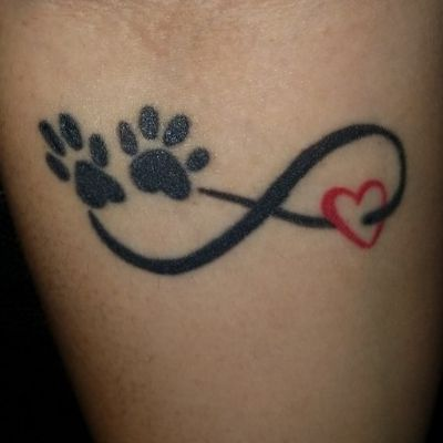 #pets #dogs #infinity #infinitelove #love #blackandredtattoo #paws
