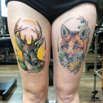 À gauche tattoo frais, à droite tattoo cicatrisé... La qualité parle d'elle même 😎😉 😗 Entre mes guests, je prends des RDV tattoo à Colmar dans mon shop privé (le Nid🐦). Des dispos dès fin mars/début avril! N'hésitez pas à me contacter pour vos projets couleur! #stag #deer #deerhunting #deertattoo #hart #antlers #whitetaileddeer #cerfdevirginie #foresttattoo #cerf #cerftattoo #forestlife #forestlove #forestlovers #freshtattoo #healedtattoo #thighttattoo #zeldabjj #zeldablackjeanjacques #tattooartist #tattooart #neotrad #neotraditional #neotraditionaltattoo #neotradsub #neotradtattoo #colortattoo #colmartattoo #tattoolife