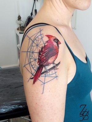 🐦Merci à ma cliente pour ce joli cardinal ! 🐦 #cardinal #cardinaltattoo #zeldabjj #zeldablackjeanjacques #colmartattoo #colmar #alsacetattoo #tattoodesign #tattooartist #tattooart #tattoolife #tatouage #ink #inked #inklife #bodyart #tattooedgirl #neotradeu #neotrad #neotraditionaltattoo #neotradtattoo #neotradstyle #neotradsub #graphictattoo #graphic