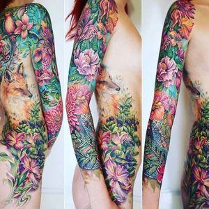 Ideas Ideas... #tattooart #floral #colourtattoo #fox #foresttattoo #tattoosofinstagram