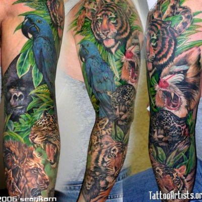 Ideas Ideas... #gorilla #cheetah #zebra #monkey #lion #tiger #animaltattoo #junglesleeve #tattooart