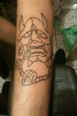 Demon tattoo Demônio #capeta #DemonHead #tattooed #tattooart #ritualtattoo #freshtattoo #ink #inked #firstsession