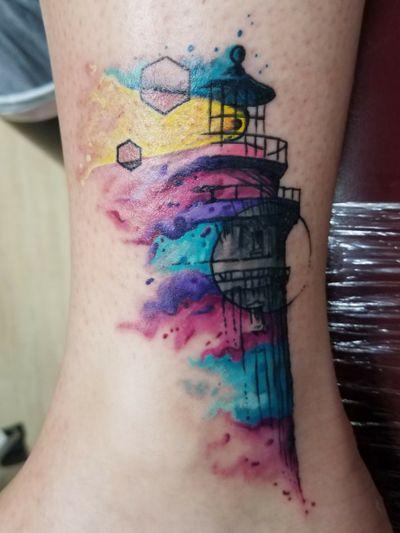 #Geometric #watercolor #blacklight #lighthouse #original #art