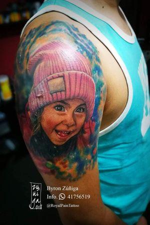 Portrait tattoo with cosmos background. #byronzuñiga #royalpaintattoo #guatemala #realismtattoo #portraittattoo #fullcolortattoo