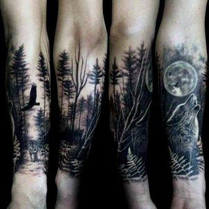 #forest #foresttattoo #wolf #wolves #wolftattoo #moon #trees #blackandgreytattoo #dark
