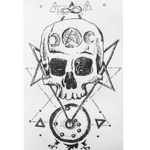 Spooky pagan skull. #pagan #moon #skull #lineart #sketch #tattoosketch #spooky #occult