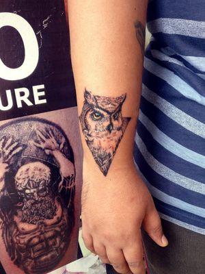 Owl tattoo made on a tattoo collector in India by Syed Hamza Ali at INKSCOOL Tattoos Pune. #owltattoos #owl #tattoos #blackandgreytattoo #dotworktattoo #realistic #geometrictattoo #wristtattoo #smalltattoos #India #inkscool #birdtattoo