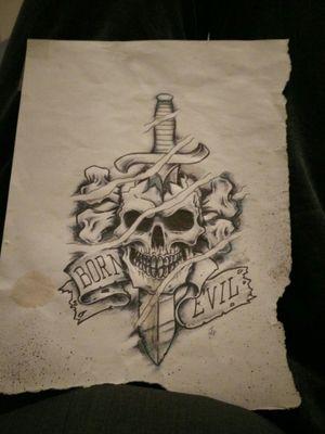 Born evil #bornevil #skulltattoo #crushedskull