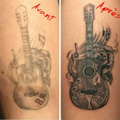 cover realized during a convention #CoverUpTattoos #coverup #guitarra #guitar