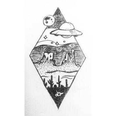 UFO over the Desert. Inspired by my trip to Arizona this year. #ufotattoo #diamond #cactus #desert #arizona #utah #mesa #tattoosketch #tattoostyle #ufo #linework #dotwork