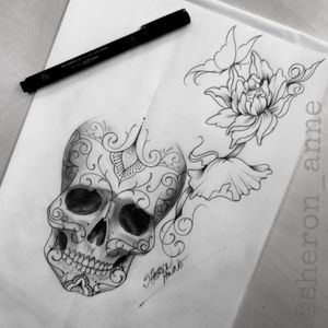 💀✏️#skulltattoo #skulldrawing #tattoosdrawing #ornamentaltattoo #ornamentaltattoodrawing #braziliantattooartist #sheronanne #sheronannetattoo #Curitiba #Florianopolis #RiodeJaneiro #RJ #Brasil