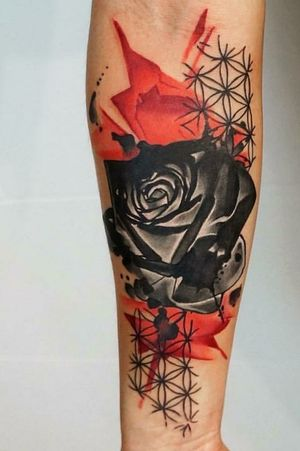 Rose on inner forearm by Dynozartattack pulled from their IG account