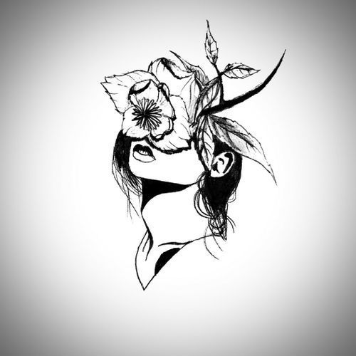 #flash #drawing #blackwork #girl #flower