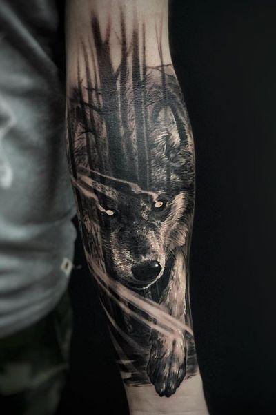 #wolf #forest #dark #trees #blackandgreytattoo
