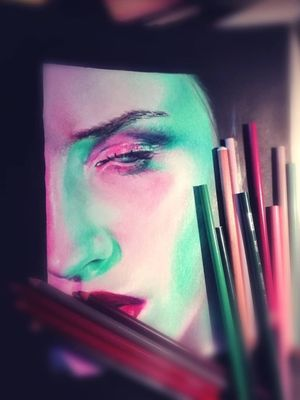 #prismacolours #portrait #prismacolor #pencils #ink #inkedgirls
