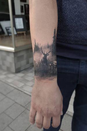 #forest #stagtattoo #stag #dark #blackandgreytattoo