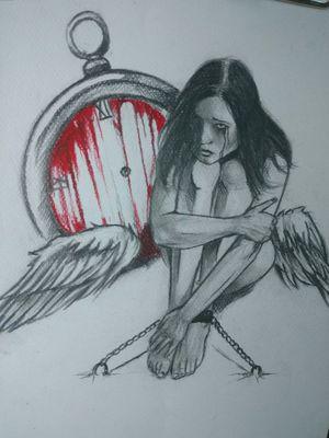 #angel #drawing #sketchtattoo #sketch #clock #tattoodesing #ink #zegar #pencil