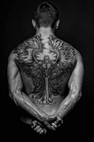 Artist unknown #angeltattoo #backtattoo #backpiece #angel
