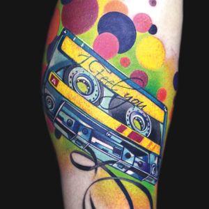#IvanaBelakova #graphic #cassette #lettering tattoo